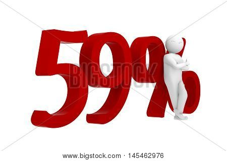 3d human leans against a red 59%