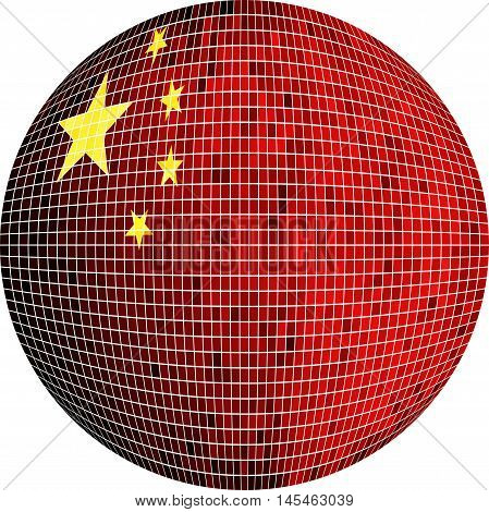 Ball with China flag - Illustration,  Sphere Chinese flag vector,   Abstract Grunge Mosaic flag of China