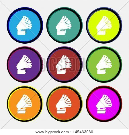 Gramophone Icon. Sign. Nine Multi Colored Round Buttons. Vector