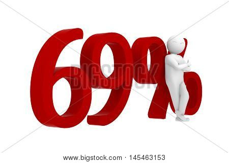 3d human leans against a red 69%
