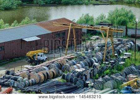 Tobolsk, Russia - July 15, 2016: View on territory of distributive networks and energy company