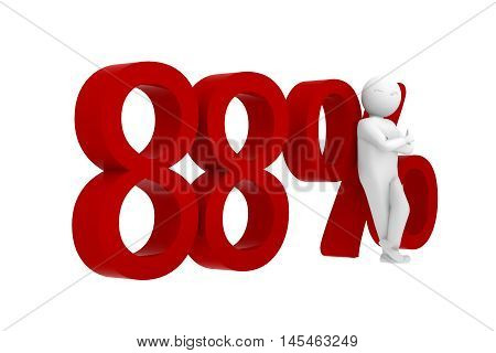 3d human leans against a red 88%