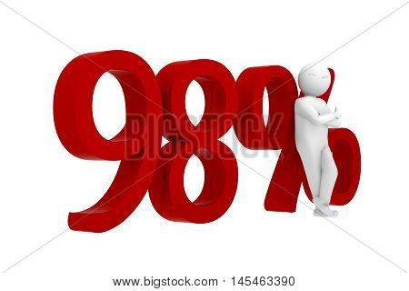 3d human leans against a red 98%