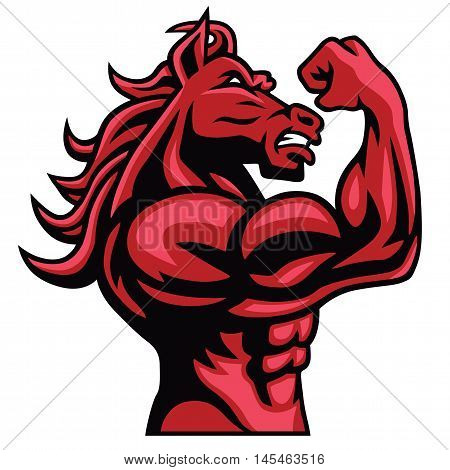 Red Horse Posing His Muscular Body Vector Mascot