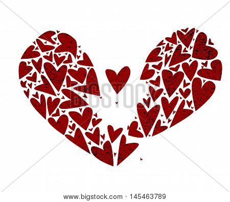A large broken heart made up of several smaller hearts with one flying free and a shattered background