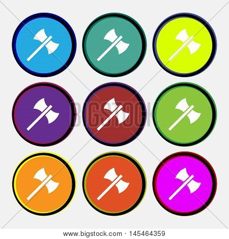 Battle Axe Icon Sign. Nine Multi Colored Round Buttons. Vector