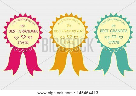 Bright awards signifies The best grandma, The best grandpa, The best grandparent ever, winners, vector illustration