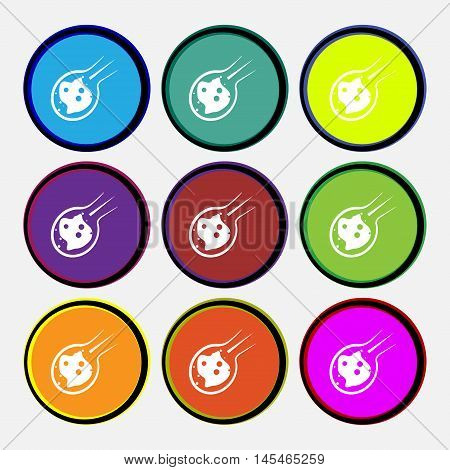 Flame Meteorite Icon Sign. Nine Multi Colored Round Buttons. Vector
