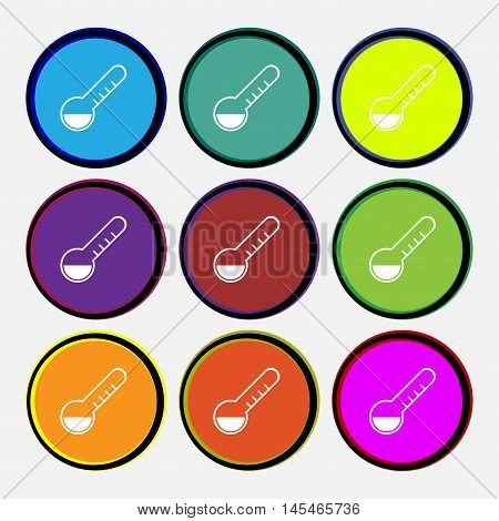 Thermometer Icon Sign. Nine Multi Colored Round Buttons. Vector
