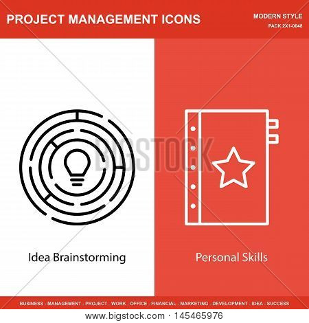 Set Of Project Management Icons On Creativity And Quality Management. Project Management Icons Can B