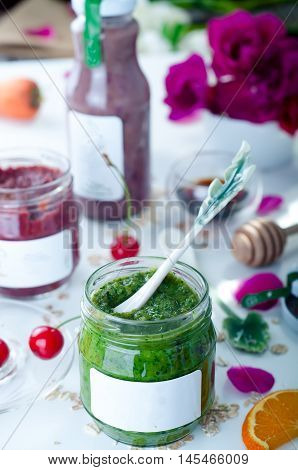 Fresh Green Spinach Smoothie In Glass