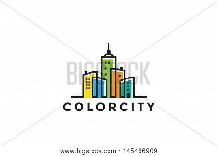 Cityscape Buildings Real Estate Logo design vector. Realty icon