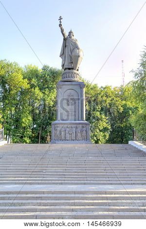 BELGOROD RUSSIA - August 30.2016: Monument to the prince to Vladimir Sviatoslavich the Great of Kievan Rus