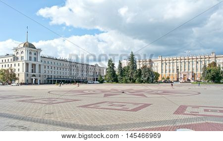 BELGOROD RUSSIA - August 31.2016: Building of regional administration and hotels Belgorod on the Cathedral square