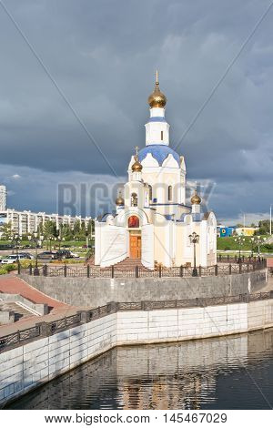 BELGOROD RUSSIA - August 31.2016: Embankment of the Vezelka River and temple of Saint Gabriel