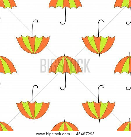 Seamless Background With Autumn And Colorful Parasols