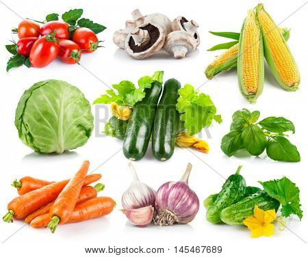 Set fresh vegetables with green leaves flower spicy herb healthy eating collection. Isolated white background