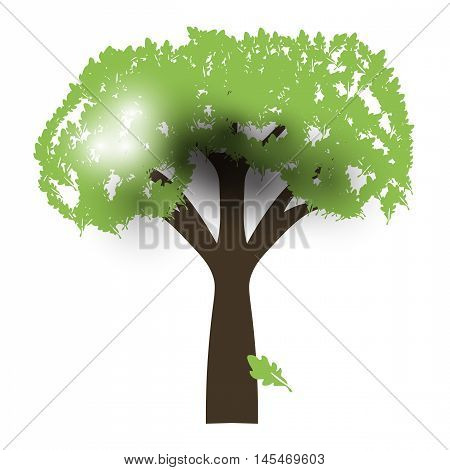 Green Oak Silhouette of a tree, Vector, backlight