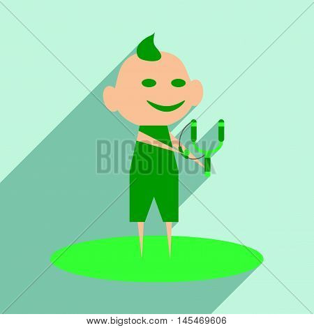 Flat with shadow icon and mobile application boy slingshot