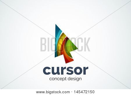Cursor logo template, mouse pointer and arrow concept. Modern minimal design logotype created with geometric shapes - circles, overlapping elements