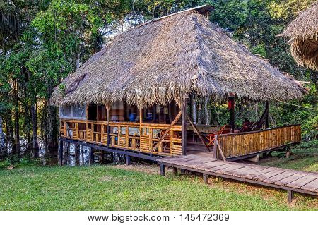 Eco Lodge Made From Bamboo Located In Cuyabeno Wildlife Reserve South America
