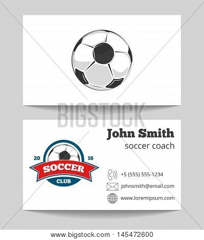 Soccer coach business card template with logo. Soccer sport game. Vector illustration