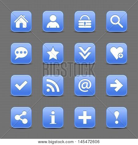 16 blue satin icon with white basic sign on rounded square web button with color reflection on background. This vector illustration internet design element save in 8 eps
