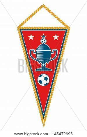 Red triangle soccer pennant with ball and cup isolated on white background