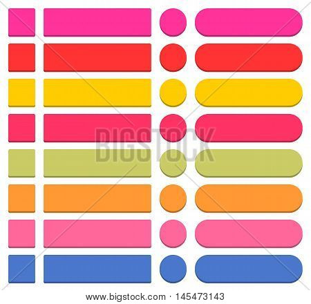 32 blank icon in flat style 3D button square, rectangle, circle shapes on white background. Pink, red, yellow, magenta, green, orange, blue colors. Vector illustration in 8 eps