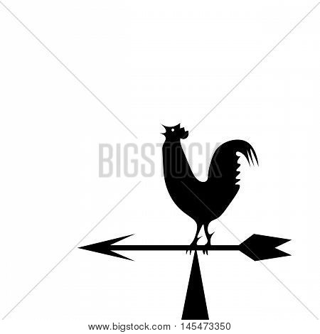 Vector image of an cock on white background. Weather vane in the form of a black rooster on the boom
