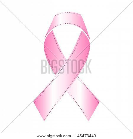 Pink ribbon of material to be worn on the chest, Vector Illustration.