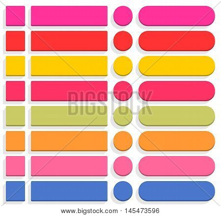 32 blank icon in flat style 3D button square, rectangle, circle shapes with gray shadow on white background. Pink, red, yellow, magenta, green, orange, blue colors. Vector illustration in 8 eps