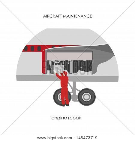 Mechanic repairing engine aircraft. Airplane maintenance. Vector illustration