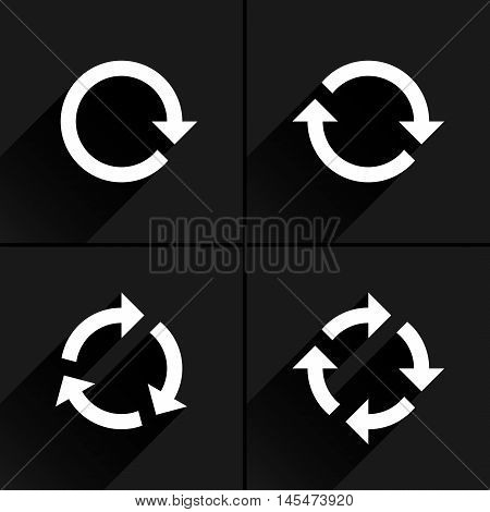 4 white arrow loop, refresh, reload, rotation icon. Volume 02. Flat icon with black long shadow on gray background. Simple, solid, plain, minimal style. Vector illustration web design elements 8 eps