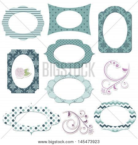 Scrapbook design elements. Textile vintage photo frames and floral decor.