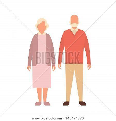 Senior Man Woman, Couple Grandfather Grandmother Full Length Flat Vector Illustration