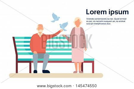 Senior Couple Grandmother And Grandfather Bench In Park Outdoors Flat Vector Illustration