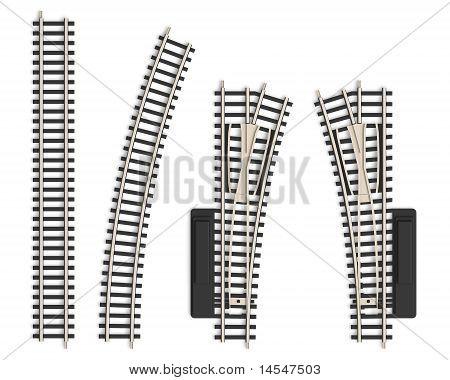 Set of miniature railroad track elements