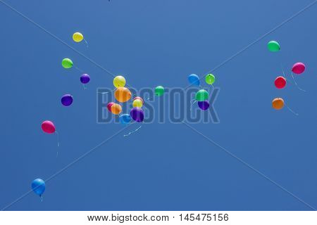 Multicolored balloons flying up in the blue sky