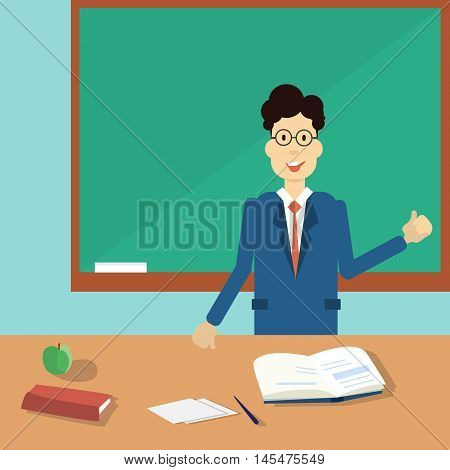 Professor Point Hand To Green School Clack Board Flat Vector Illustration