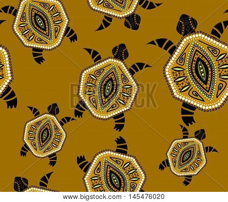 Seamless pattern with turtles in indigenous style Vector in yellow