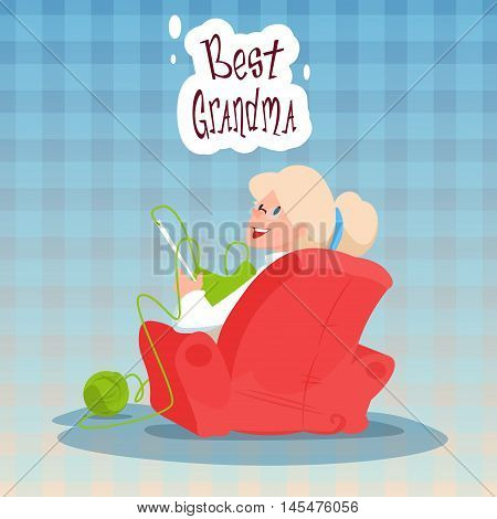 Grandmother Sitting In Armchair Best Granny Grandparents Day Greeting Card Flat Vector Illustration