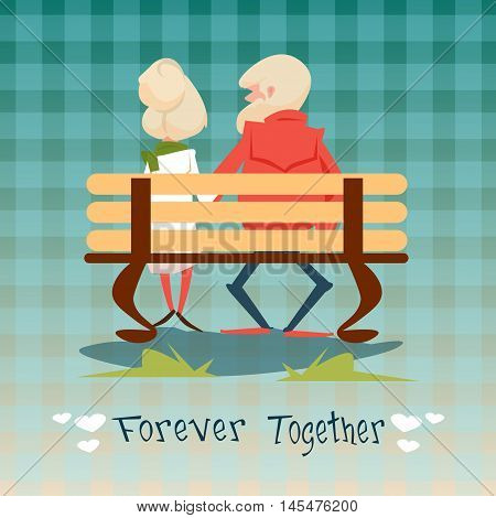 Senior Couple Sitting On Bench Forever Together Grandparents Day Greeting Card Flat Vector Illustration