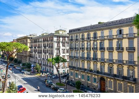 Naples, Italy - October 04, 2016: View of Naples Buildings from Viale Antonio Gramsci.