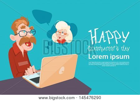 Grandfather Using Laptop Social Network Happy Grandparents Day Banner Flat Vector Illustration