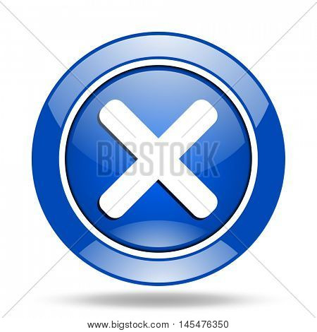 Blue round glossy vector cancel web icon