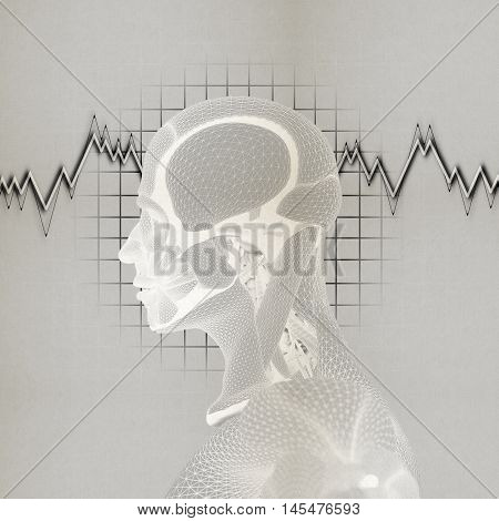 The mind, brain power and function, thought and thinking, memory loss. 3D illustration.