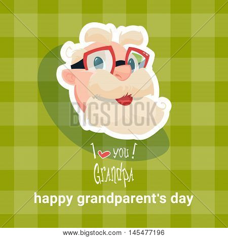 Grandfather Happy Grandparents Day Greeting Card Flat Vector Illustration