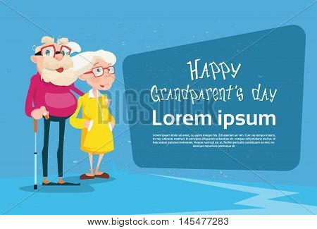 Senior Couple Grandparents Day Greeting Card Flat Vector Illustration