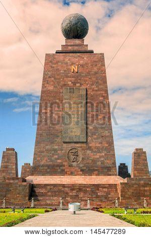 Middle Of The World Monument Mitad Del Mundo North Side Line Monument Near Quito Ecuador South America